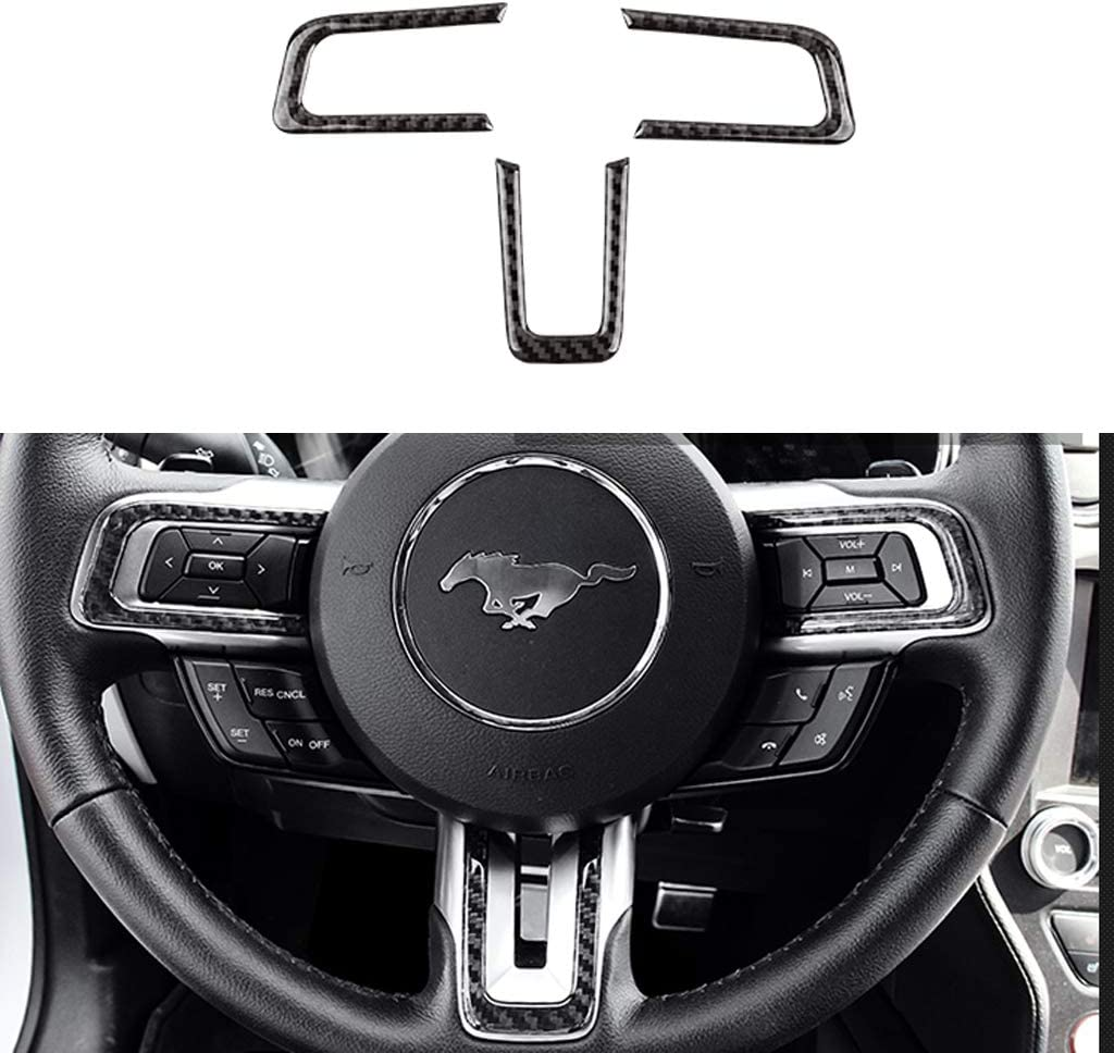 TopDall Carbon Fiber Steering Wheel 3D Sticker Cover Trim Control Panel For Ford Mustang 2016-2020