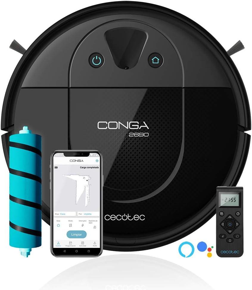 Cecotec Conga 2690. Robot Aspirador con tecnología iTech Camera 360, friega, aspira y Barre a la Vez, App, Limpieza puntual de áreas y Zona restringida, 2700 Pa, Alexa & Google Assistant