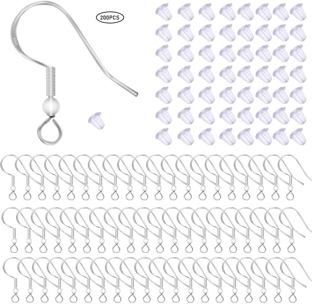 100 Pcs/50 Pairs 925 Sterling Silver Earring Hooks Fisch Hook Ohr Wires French Wire Hooks Hypo-Allergenic Jewelry Findings Earring Parts Diy Making mit 100 Pcs Clear Rubber Earring Safety Backs