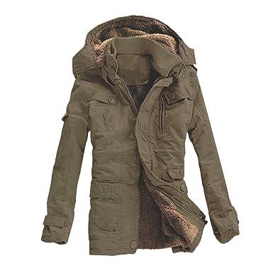 6fa2441c9a Amphia - Herren Übergröße Baumwolljacke - Lange Jacke mit Kapuze, Mode  Männlich Herbst Winter Warm