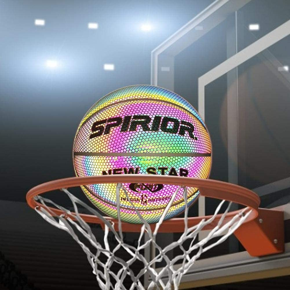 Ecisi Holographic Glowing Reflective Basketball Night Game Light Up Camera Flash Glow in The Dark Basketballs Toys for Kids and Boys