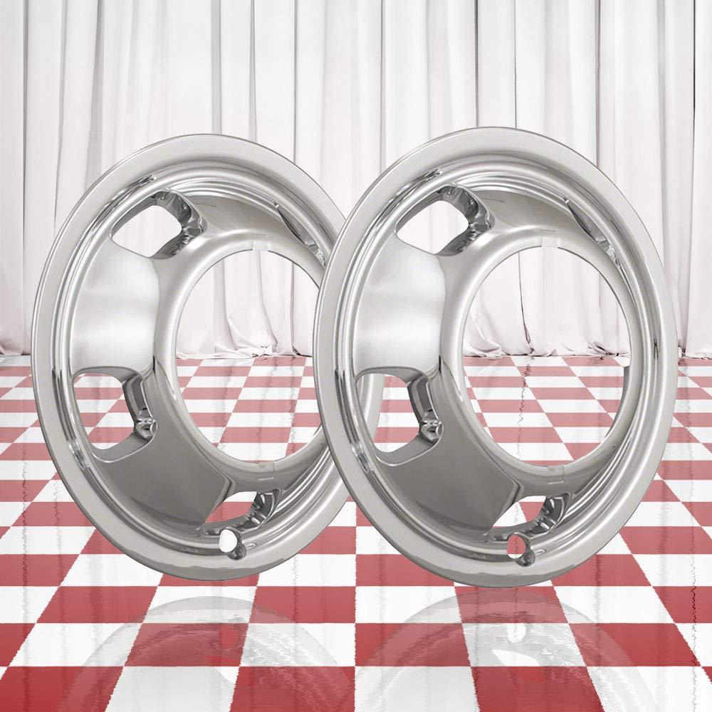 Brighter Design Set of 2 Front Chrome 5 Hand Hole 17'' Wheel Simulators for 03-18 Dodge Ram 3500 by Brighter Design