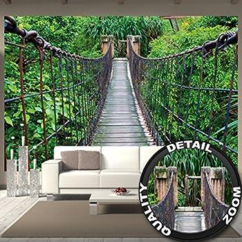 Wall Mural Rope Bridge Mural Nature Adventure Bridge Rain Forest