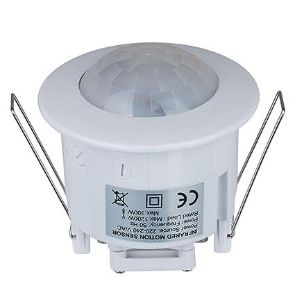 PIR Sensor de Movimiento Interruptor de luz empotrable 360 Grados ángulo de Techo Detector de ocupación [Clase energética A+]