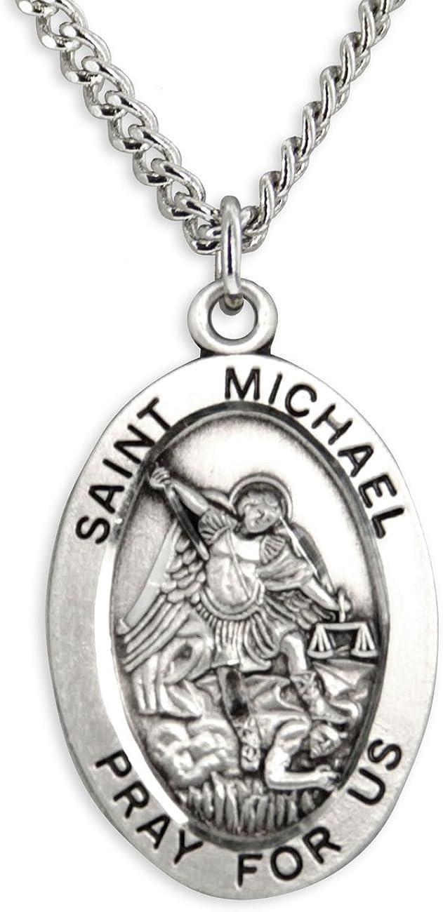 Heartland Men's Saint Michael Sterling Silver Oval Pendant USA Made + Chain Choice