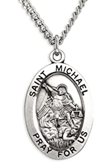 Amazon sterling silver st michael patron saint paratroopers heartland mens saint michael sterling silver oval pendant best quality usa made chain choice mozeypictures Gallery