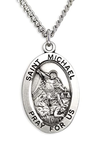 Mens saint michael sterling silver oval pendant 20 inch rhodium mens saint michael sterling silver oval pendant 20 inch rhodium plate chain clasp amazon aloadofball Images