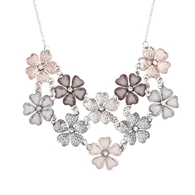 Amazon lux accessories faux white pink grey mauve floral flower lux accessories faux white pink grey mauve floral flower statement necklace mightylinksfo