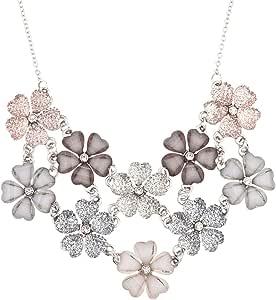 Lux Accessories Faux White Pink Grey Mauve Floral Flower Statement Necklace