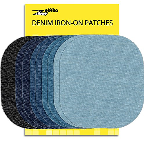 Patch Jeans Sewing - ZEFFFKA Premium Quality Denim Iron on Jean Patches No-Sew Shades of Blue Black 10 Pieces Assorted Cotton Jeans Repair Kit 4-1/4