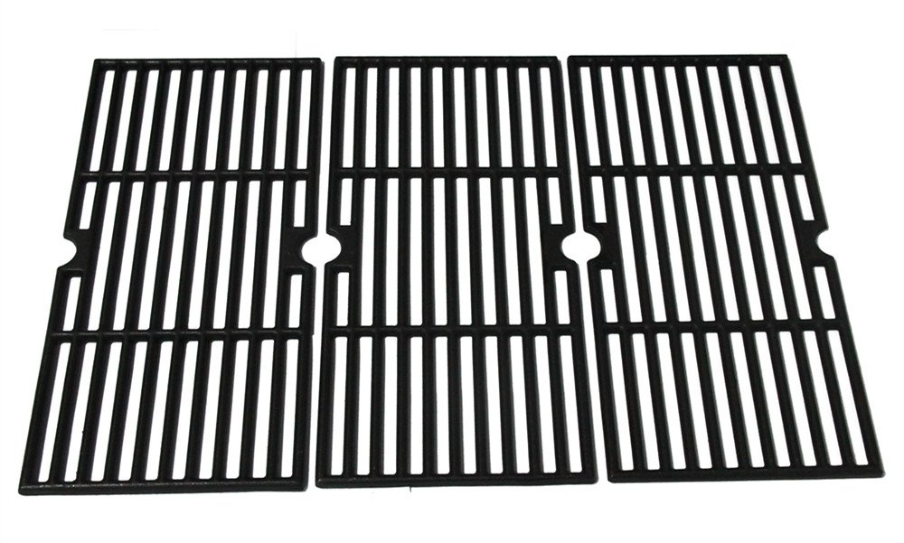 Hongso PCF123 Matte Porcelain Coated Cast Iron Cooking Grid Set Replacement for Select Gas Grill Models by Kenmore, Charbroil, Thermos, Set of 3