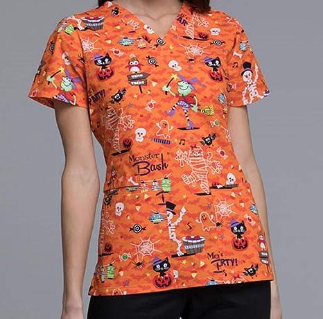9f93e91a284 Amazon.com: CK616 PAMS L Cherokee Halloween Uniform Scrub Nurse Women's  V-Neck Top Party Monster: Everything Else