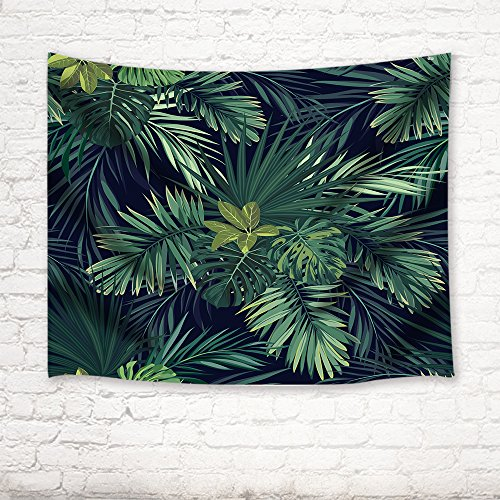 Banana Leaf Wall - Tropical Plant Tapestry By JAWO Tropical Forest Palm Tree Banana Leaves Wall Art Hanging for Bedroom Living Room Dorm 71X60Inches Wall Blankets