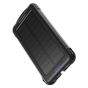 RAVPower Cargador Solar Portátil 10000mAh, Batería Externa con iSmart 2.0 y Dual Entrada (Toma De Corriente y Solar), Cargador Móvil Solar A Prueba De ...