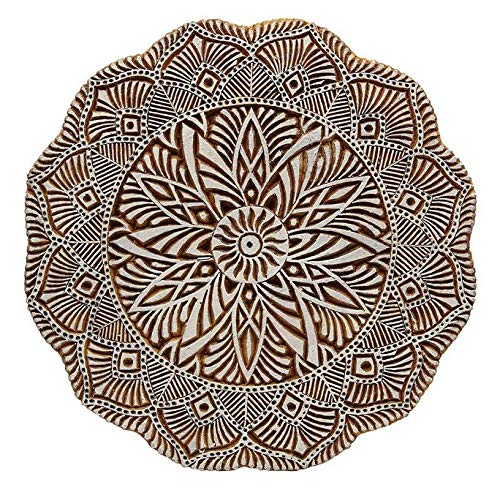 Wooden Printing Block Stamp Hand Carved Mandala Indian Textile Fabric Border 8''