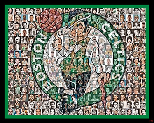 NBA Boston Celtics Mosaic Print Art Designed Using Past and Present Celtics Players from 1950-2018. 8x10