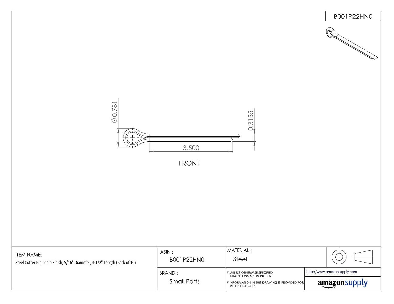 3-1//2 Length Steel Cotter Pin Pack of 10 5//16 Diameter Plain Finish