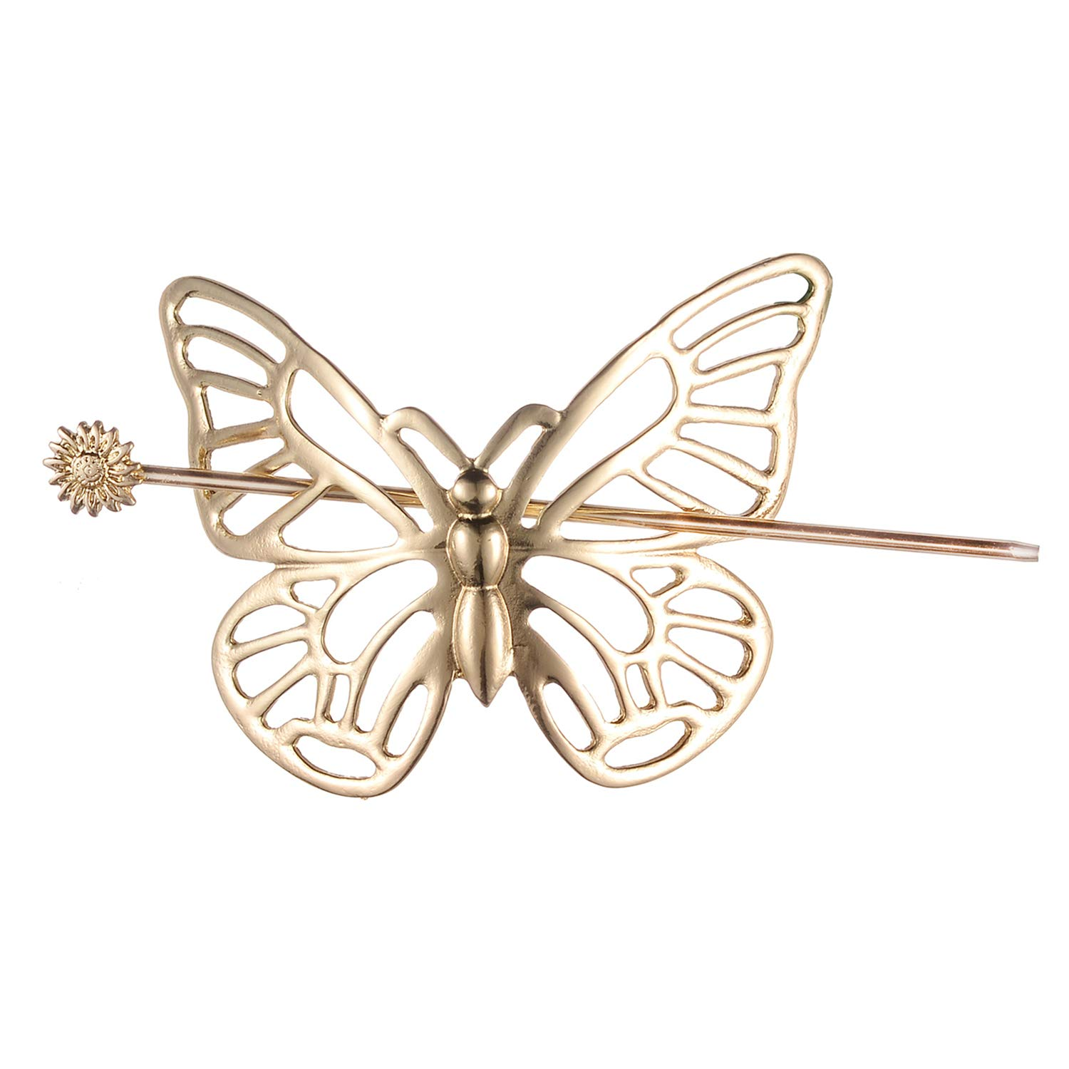 NEW Global Gold Tone Faux Wood Barrette Hair Styling Clip