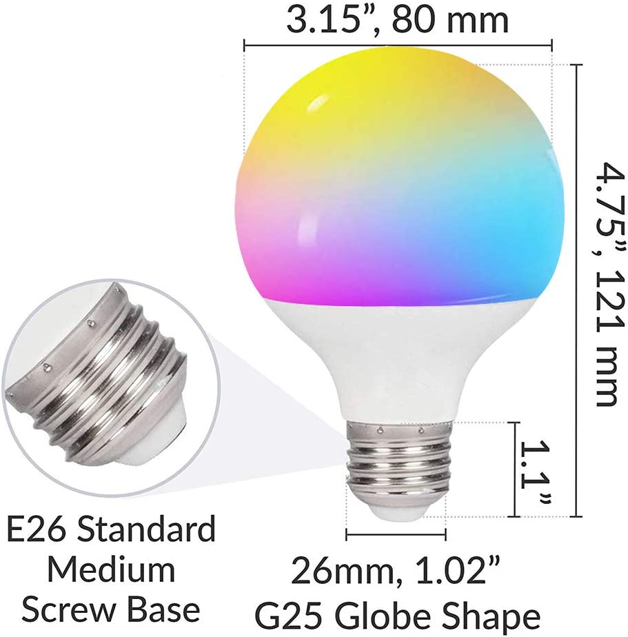 Smart LED/Light Bulb G25 2pack ,5W WiFi Color Changing Light Bulb,40W Equivalent/G25/LED Globe/Bulbs/Dimmable No Hub Required Smart Lights Compatible with Alexa,Google Home/and Siri G80