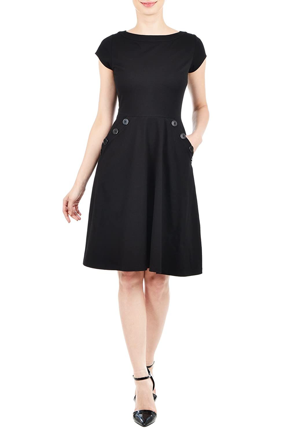 Plus Size Retro Dresses eShakti Womens Large button pocket knit dress $54.95 AT vintagedancer.com