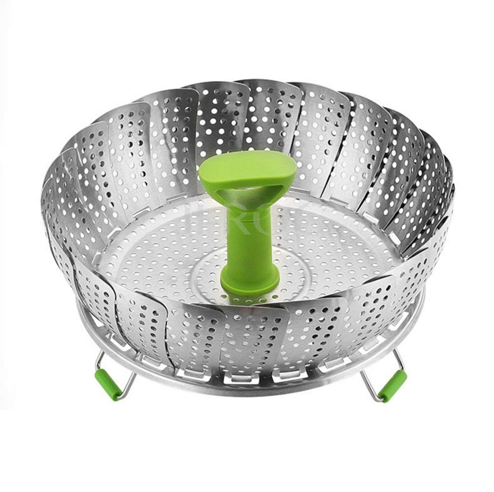 Collapsible Stainless Steel Vegetable Steamer Basket, HomeYoo Multifunctional Extendable Food-grade Veggie Water Strainer Basket with Retractable Heat Resistant Handle Grip and Non-slip Stand Feet, for Various Size Instant Pot or Saucepan (Green, Large Di