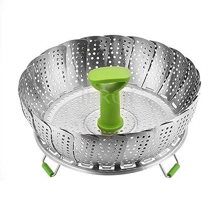 HomeYoo Adjustable Cesta Vaporera Vegetal, Cesta Vapor frutero Plegable Acero Inoxidable con Mango Extensible Ajustar a Diferentes tamaños de Pot ...
