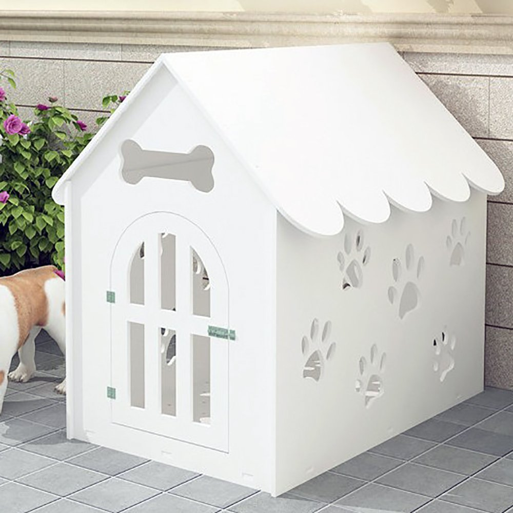 SYSTOND Dog House Placa de protección del medio ambiente Hueco hacia fuera Pet Playpen Plastic Kennel Dog House Jaula Animal Shelter para Small Medium Large ...