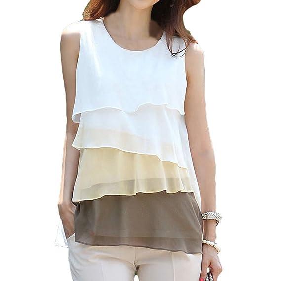 TOOGOO(R)Lindo gasa de las mujeres Camiseta de Tirantes Cascada Volantes Sin Mangas
