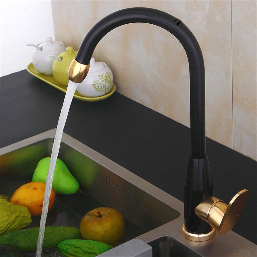 Dayanand Kitchen Faucet Touchless High Pulldown Kitchen Faucet Black hot and cold basin gold black gold wash basins taps space aluminum kitchen dish washing basin faucet black gold