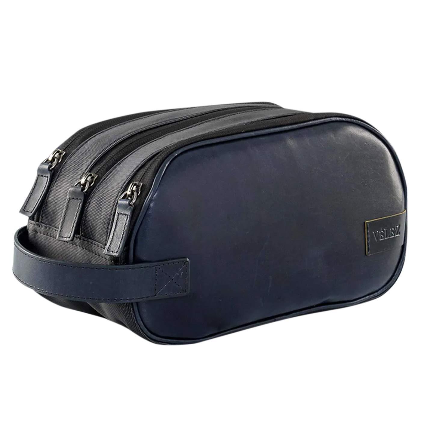 VELEZ 1019638 Colombian Genuine Leather Toiletry Bag for Men Blue by VELEZ