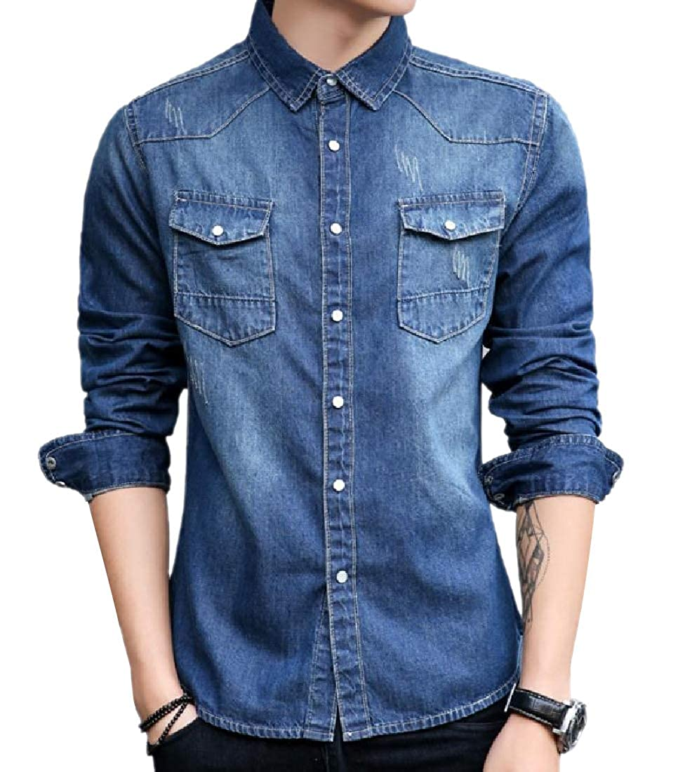 YUNY Men Denim Cotton Original Fit Wrinkle-Free Button Down Shirt Dark Blue XL