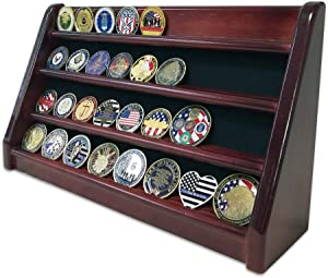 Challenge Coin Display Stand 4 Row Rack Holder(Mahogany Finish)-Military Coin Display Case