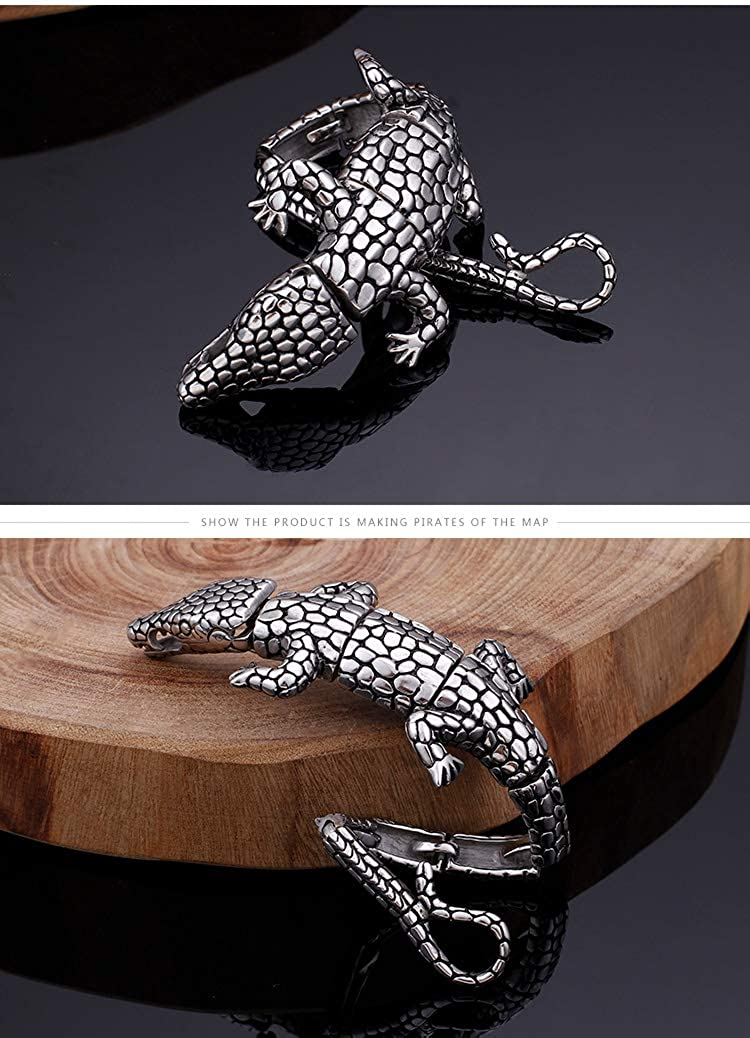 MSWANG Stainless Steel Ancient Silver Tone Animal Bracelet Personality Punk Heavy Metal Style Beast Bangle Lizard