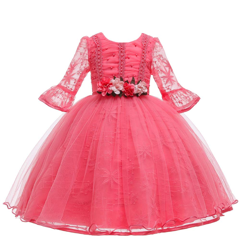 Children Girls Princess Dress Teens Vintage Tulle Dance Gown Lace Long Sleeves Elegant Party Evening Dresses (Age:2-3 Years, Pink) by FDSD Baby Clothes