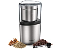 SHARDOR Electric Coffee Bean Grinder, Spice Grinder, 1 Removable Bowl with Stainless Steel Blade, Silver