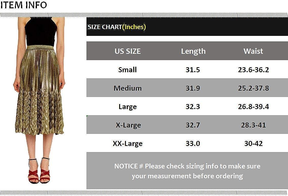JURUAA Womens Summer High Waist Glitter Pleated Midi Skirt Elegant Fishtail Skirt