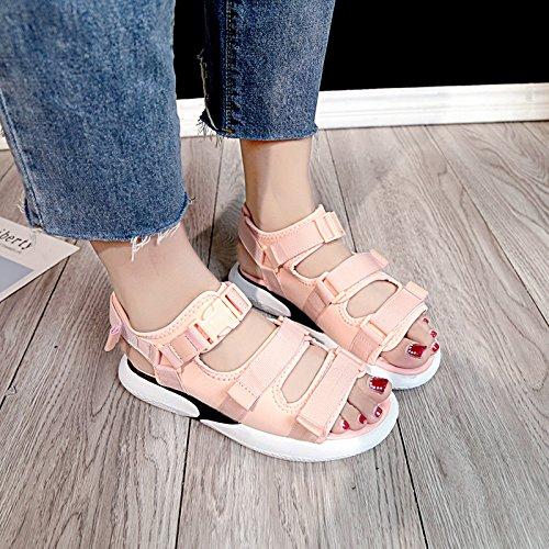 Calzado Shoes Playa de Grueso Retro Inferior Antideslizante de Verano YMFIE Exterior Pink Toe Casual Confortables Toe Sandalias Moda Plano Fondo RZxATag