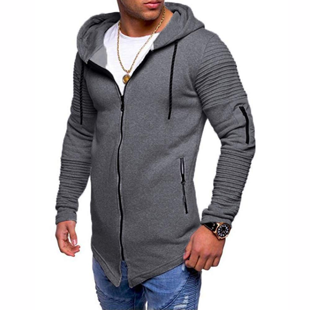 Kemilove Men's Autumn Solid Color Sweatshirt,Long Sleeve O-Neck Hoodie Top Outwear Blouse