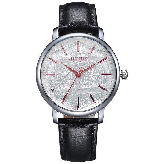 0cfbe040cb77 Julius mujeres negro correa de piel Sport elegante cuarzo reloj Unisex piel  pulsera de ja-888 a  Amazon.es  Relojes