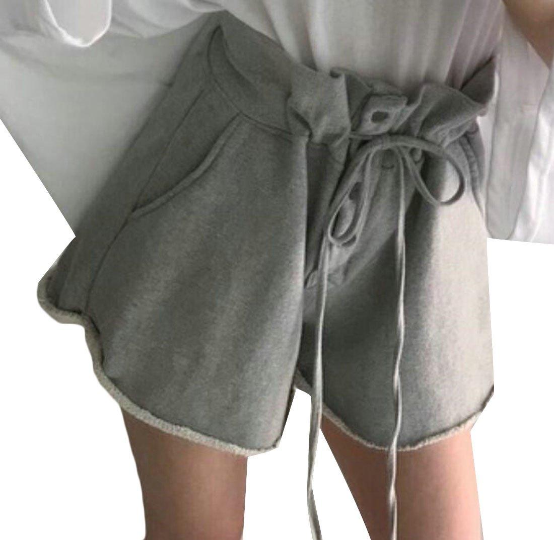 XXBlosom Women's Folded Hem Summer High Waist Strings Wide Leg Paper Bag Shorts Gray Medium