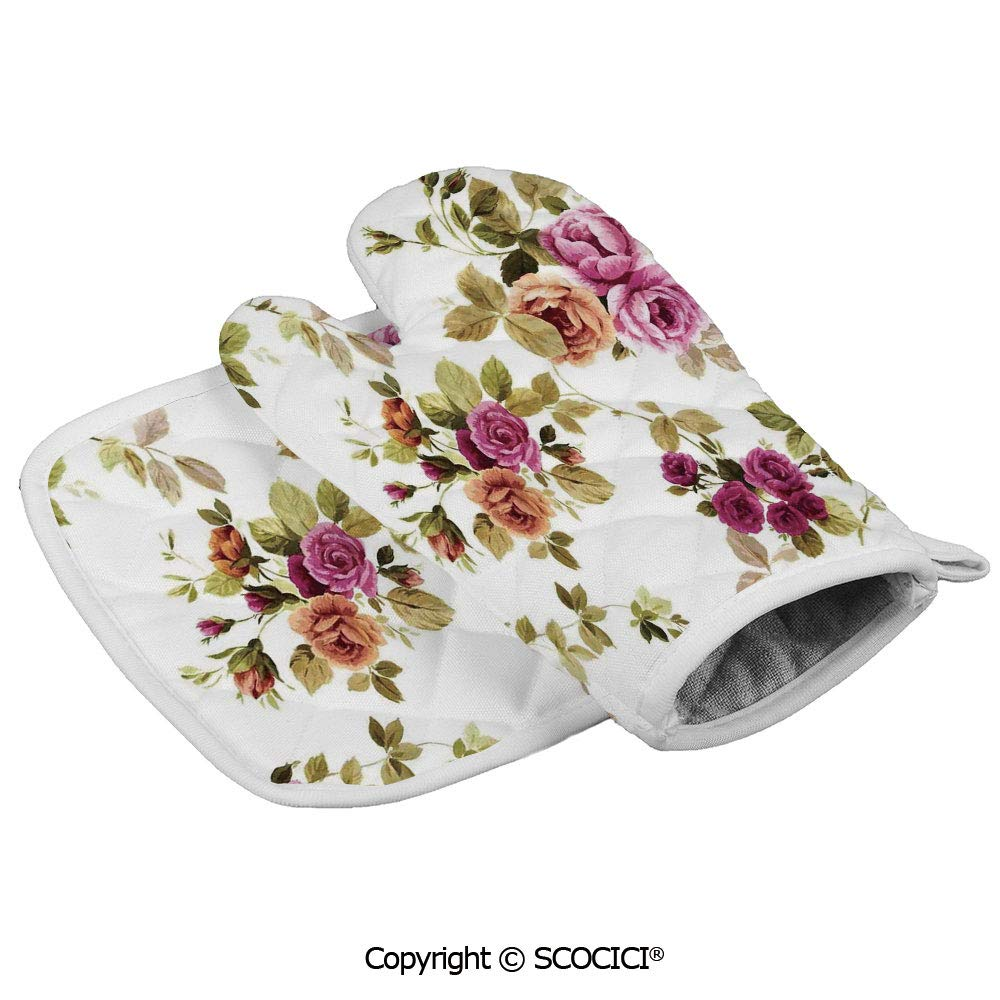 SCOCICI Oven Mitts,Professional Heat Resistant Vintage Branch of Rose Blossoming Classic Floral Design Non-Slip Kitchen Oven Glove for Cooking,Baking,Barbecue Potholders