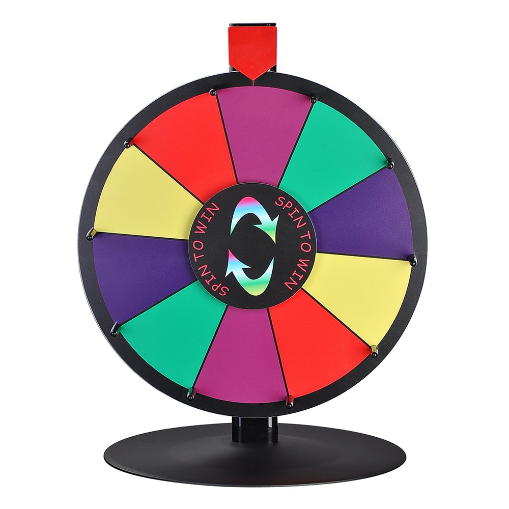 WinSpin 15'' 10 Slot Tabletop Color Dry Erase Prize Wheel and Stand Fortune Spinning Game Tradeshow