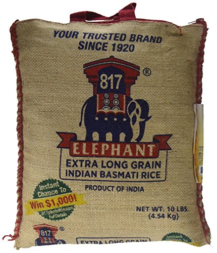 817 Elephant EXTRA LONG GRAIN Indian Basmati Rice - 10 lbs (4.54kg) by 817 Elephant