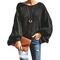 Macondoo Womens Lantern Sleeve Knitted Pullover Plus Size Jumper Sweater