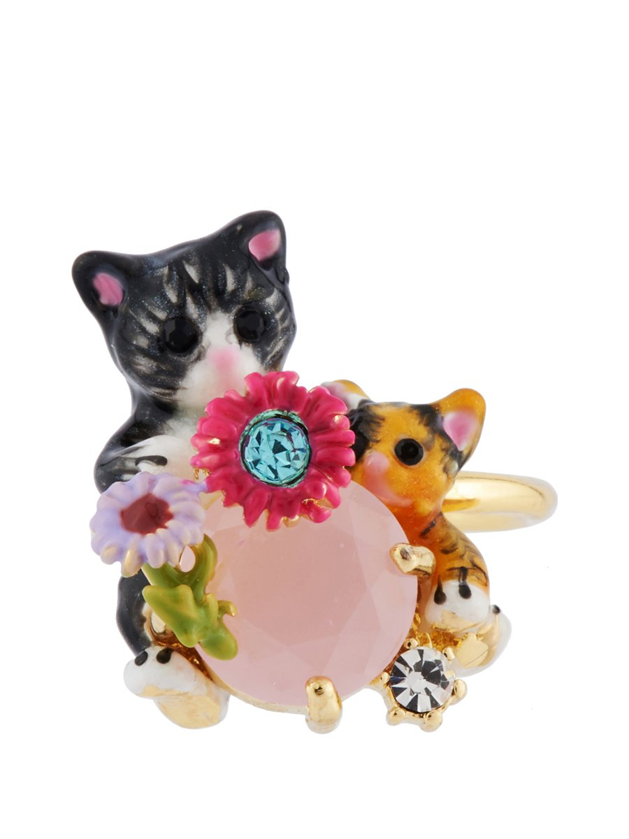 Les Néréides Les Nereides Loves Animals Cat and Kitten on Faceted Glass Adjustable Ring - Multicolor - Adjustable
