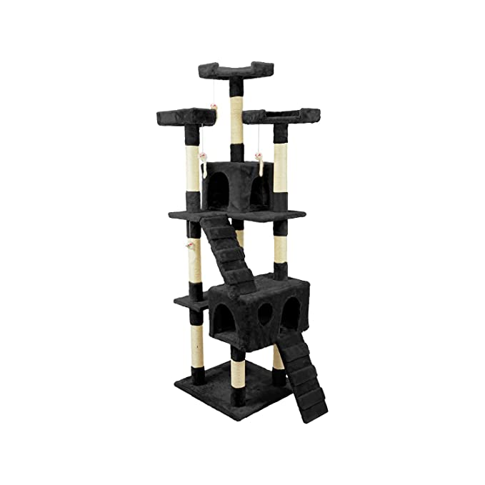 Wintem tiragraffi de 170 cm con caseta para Gatos Árbol Parque Juegos Juegos Tira arañazos para Gato [Negro]: Amazon.es: Productos para mascotas