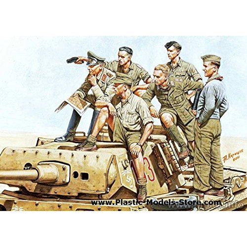 Master Box WWII Rommel and German Tank Crew DAK (6) Figure Model Building Kits (1:35 Scale)