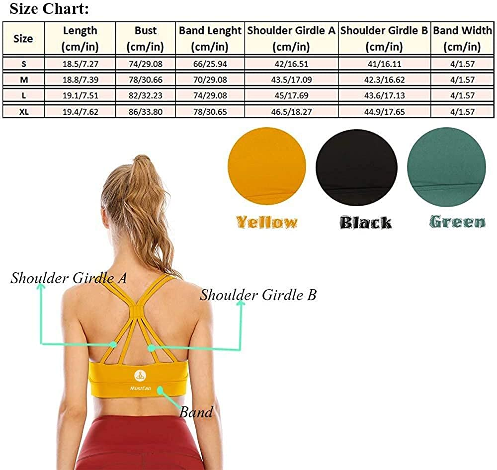 Mustcan Padded Strappy Womens Sports Bras Longline Racerback Medium Support Workout Yoga Tops Running Activewear Bra at  Women's Clothing store
