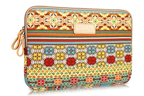 LISEN® Bohemian Style Canvas Fabric 15-15.6 Inches Laptop / Notebook Computer / MacBook / MacBook Pro / MacBook Air Sleeve Case Bag Cover + Stylus Pen + Cleaning Cloth