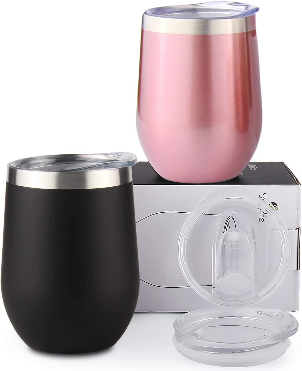 Sivaphe Wine Glasses Tumbler Camping Double Walled Coffee Cups Stainless Steel Insulated Tumblers for Hot Drinks with Lids 12OZ Set (Rose GoldBlack)